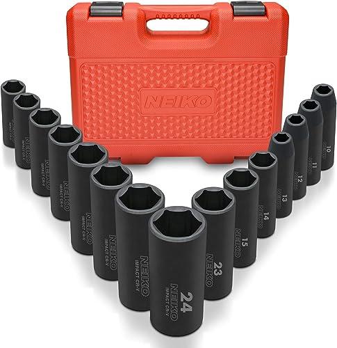 "Neiko 02474A 1/2"" Drive Deep Impact Socket Set, 15 Piece | 6 Point Metric Sizes (10 - 24 mm) | Cr-V Steel"