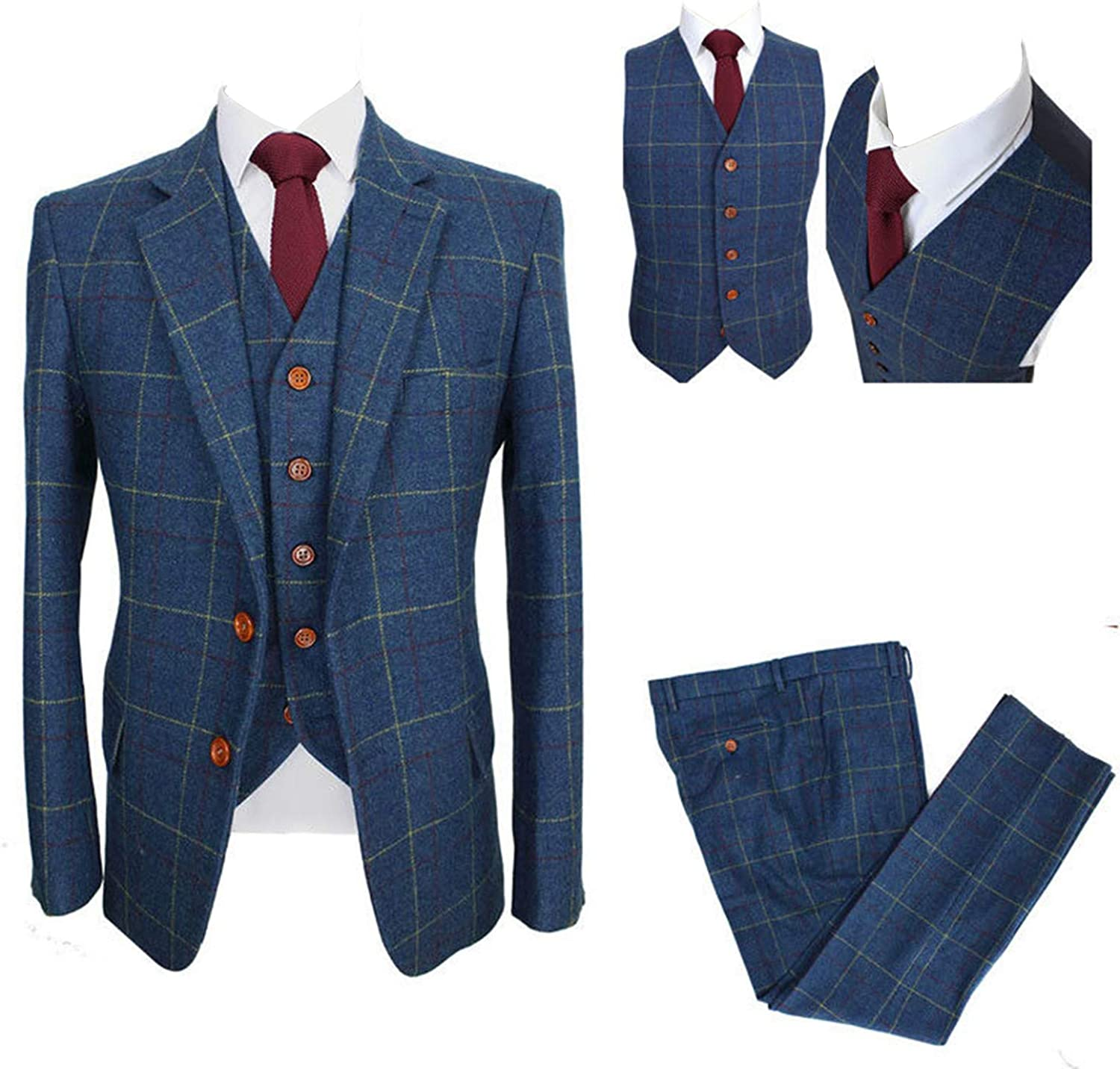 Mens Blue Suit Super sale period limited with Yellow Grid Tweed 3 Check Wool Ranking TOP12 Pieces Blend