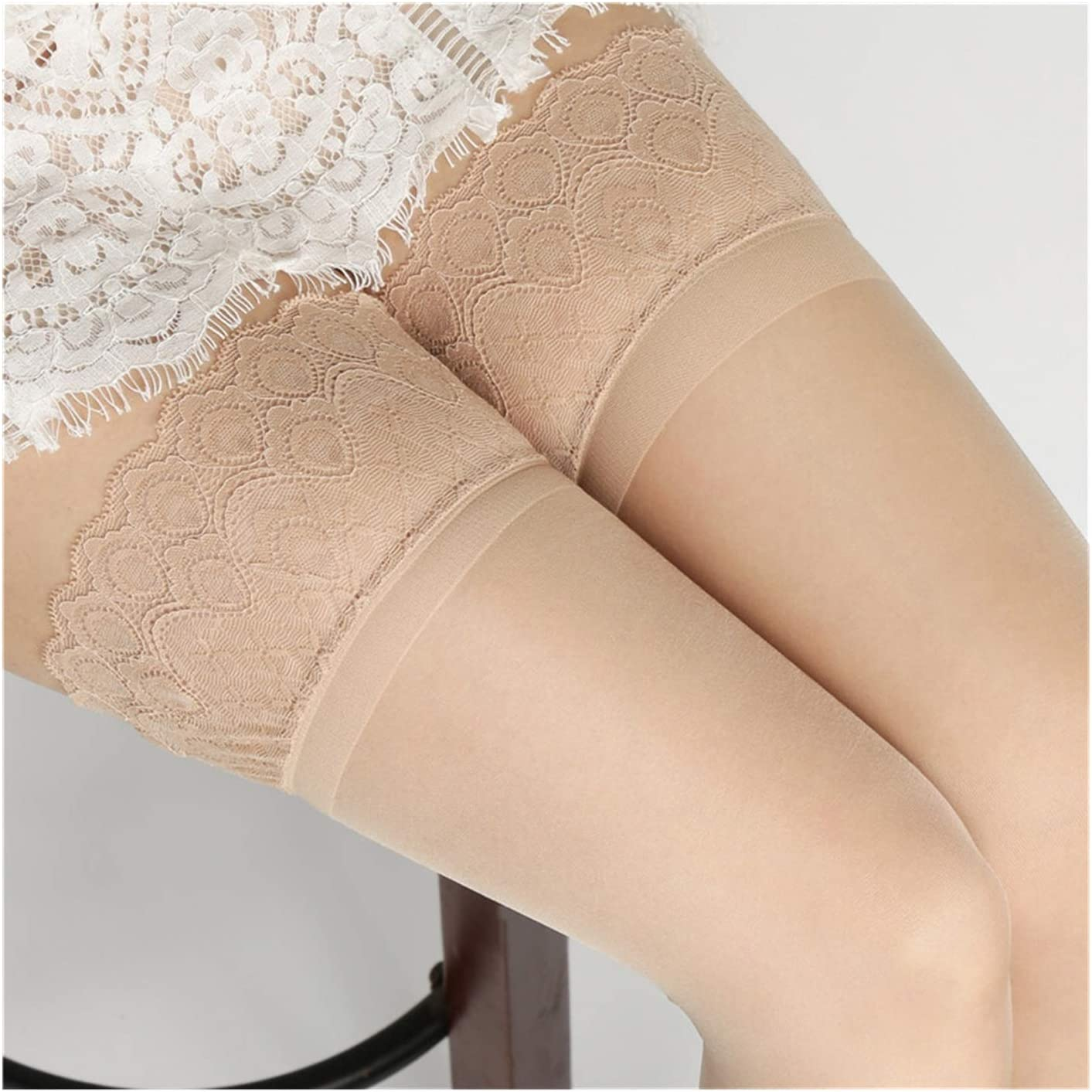 Linyuex Non-Slip Silicone Women Sexy Lace High Stockings Oil Glossy Transparent Pantyhose Lingerie (Color : Style 1 Skin)