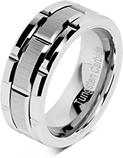 Tungsten Rings for Men Wedding Band Silver Brick Pattern Brushed Engagement Promise Size 6-16