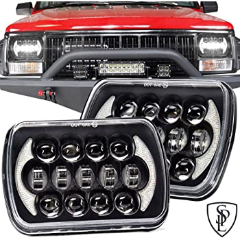 SPL 105W Brightest 5''x7''/7''x6'' Projector Cree Led Headlights Sealed Beam H4 Plug H6054 H5054 with DRL Compatible with Jeep Wrangler YJ Cherokee XJ S10 Blazer Truck Ford Van(Black Pair)