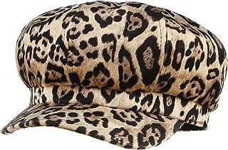 a9f4fc07 GEMVIE Women Vintage 8 Panels Newsboy Hat Fall Winter Leopard Print Visor  Beret Cap