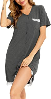 Sponsored Ad - LecGee Women's Nightgown Short Sleeve Button Down V Neck Lace Sleepwear Pajama Dress