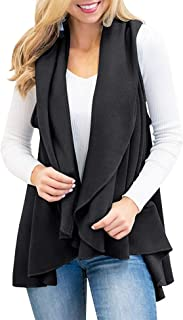 Romanstii Womens Fashion Lapel Open Front Sleeveless Plaid Casual Vest Cardigan Jacket with Pocket