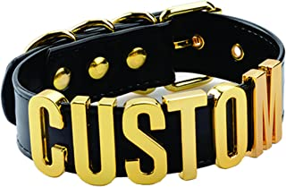 Customized Choker Collar Necklace PU Leather Custom Personalized Name Choker Custom Name Necklace Women