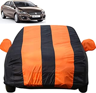 Autofact Car Body Cover for Maruti Ciaz (Mirror Pocket Fabric, Triple Stiched, Fully Elastic, Orange/Blue Color)