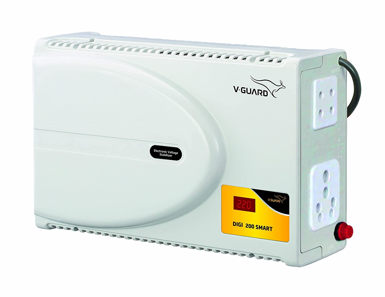 "V-Guard Digi 200 Smart TV Stabilizer for up to 203 cm (80"") TV + Set top Box + Home Theatre (Working Range: 140-295 VAC ; 6 A), Grey"