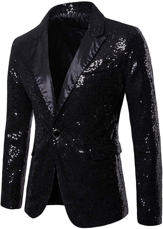 Charm Men's Casual One Button Fit Suit Blazer Coat Jacket Sequin Party Top Slim Fit Cool Coat