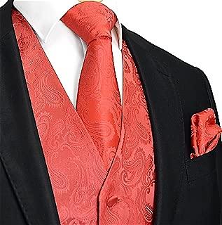 Men's 3pc Paisley Vest NeckTie Pocket Square Set For Suit or Tuxedo