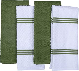 Amour Infini Terry Kitchen Dish Towels Set of 4 (16 x 26 Inches), Green, 100% Cotton, Highly Absorbent, Machine Washable