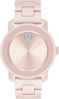 Movado Women's BOLD Ceramic Watch with a Crystal-Set Dot, Pink/Silver (Model 3600536)