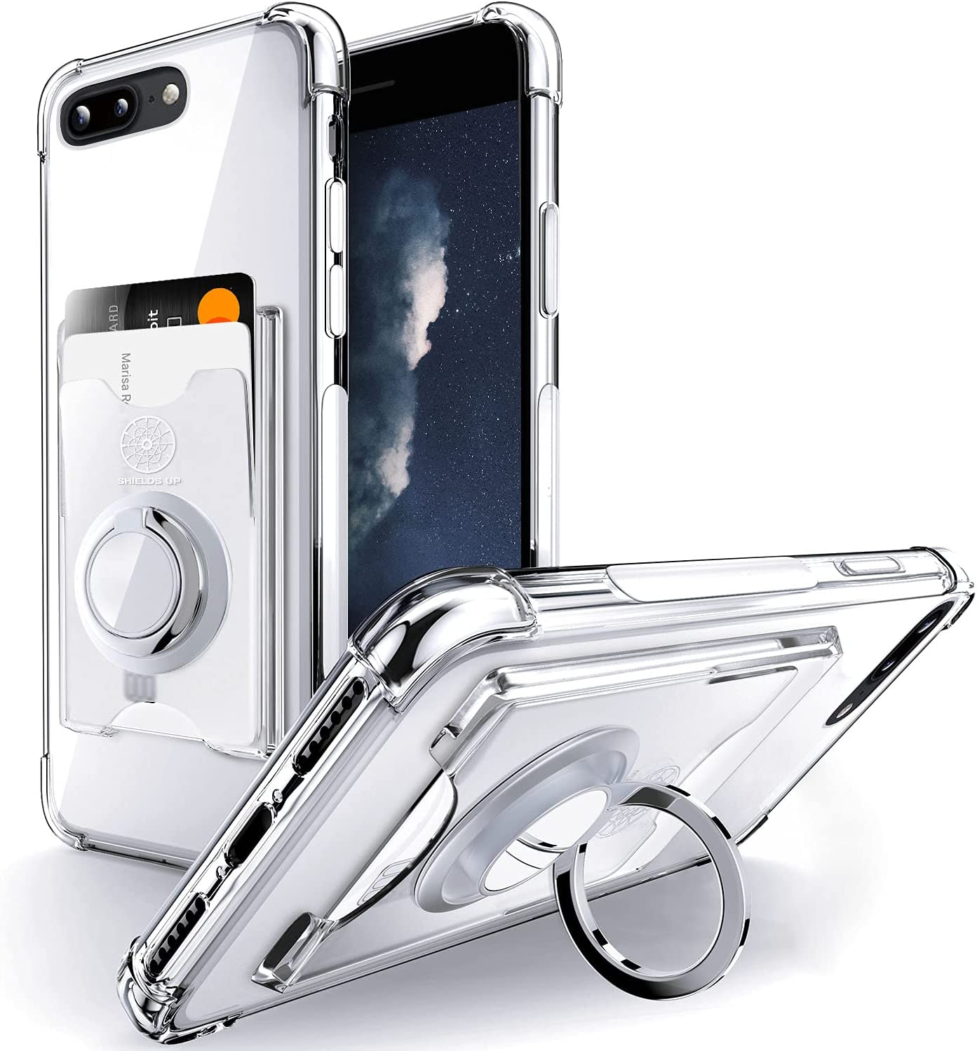 Shields Up Designed for iPhone 8 Plus Case, iPhone 7 Plus Case, Minimalist Wallet Case with Card Holder and Ring Kickstand/Stand, Slim Protective Shockproof Cover for Apple iPhone 8Plus/7Plus - Clear