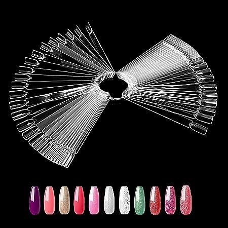 Ealicere 50pcs Ventilatore Espositore, Display unghie finte ventaglio, per Esibire colore Nail