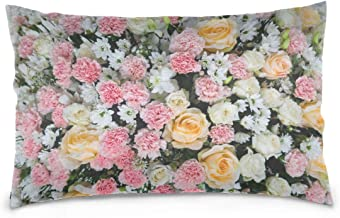 Mydaily Beautiful Flowers Floral Throw Pillow Case Cotton Velvet Rectangular Cushion Cover 20x30 inch