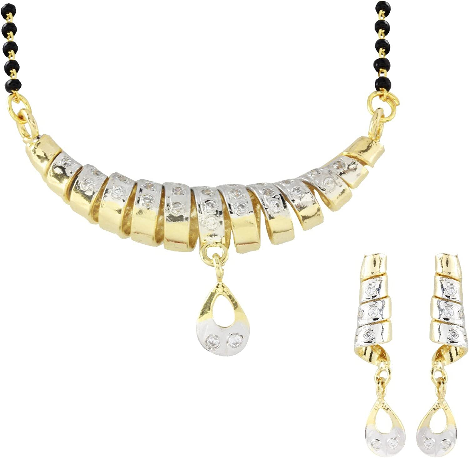 Efulgenz Indian Bollywood Ethnic Traditional Mangalsutra Pendant with Chain and Earrings Jewelry for Women