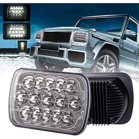 Yuz 2PCS Rectangle 7x6 LED Headlights 5x7 Headlights 6054 H5054 Headlamp Hi//Low Sealed Beam Compatible with Chevy Blazer Express Van//Jeep Wrangler YJ XJ Cherokee Truck Ford Van H6054 LED Headlights