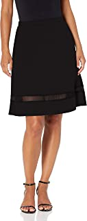 Star Vixen womens Petite Fit n Flare Stretch Ponte Knit Mesh Inset Skirt Skirt