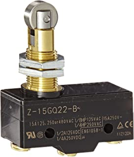 Omron Z-15GQ22-B General Purpose Basic Switch, Panel Mount Roller Plunger, Screw Terminal, 0.5mm Contact Gap, 15A Rated Current