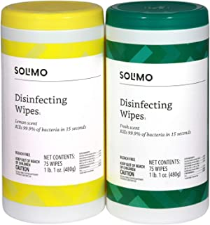 Amazon Brand - Solimo Disinfecting Wipes, Lemon Scent & Fresh Scent, Sanitizes/Cleans/Disinfects/Deodorizes, 75 Count (Pac...