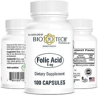 Bio-Tech Pharmacal Folic Acid 5 Milligram   Folic Acid - 100 Capsules