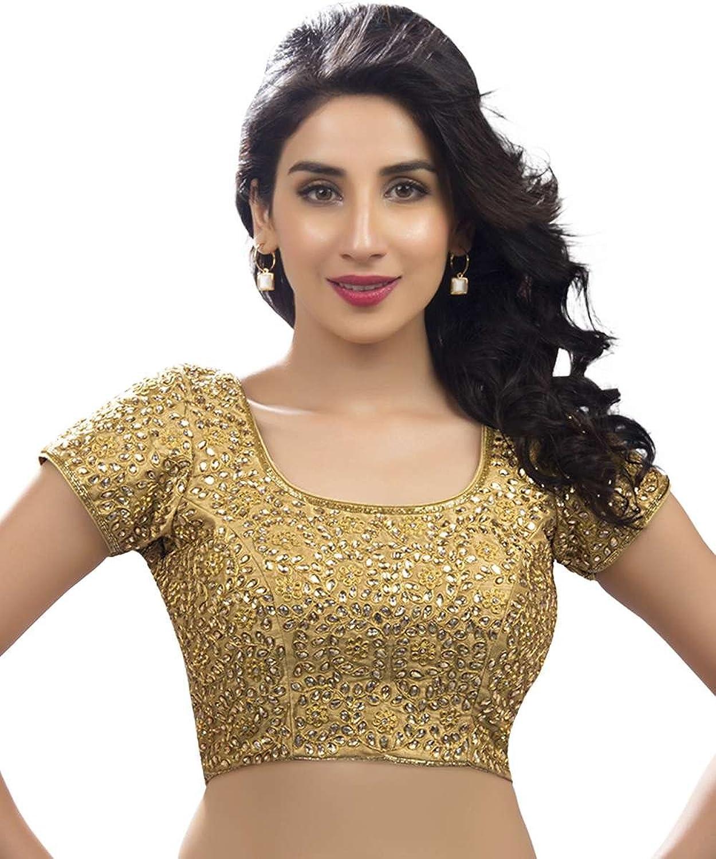 Bridal Swarovski Embroidered Silk gold Saree Blouse Sari Choli  KP108