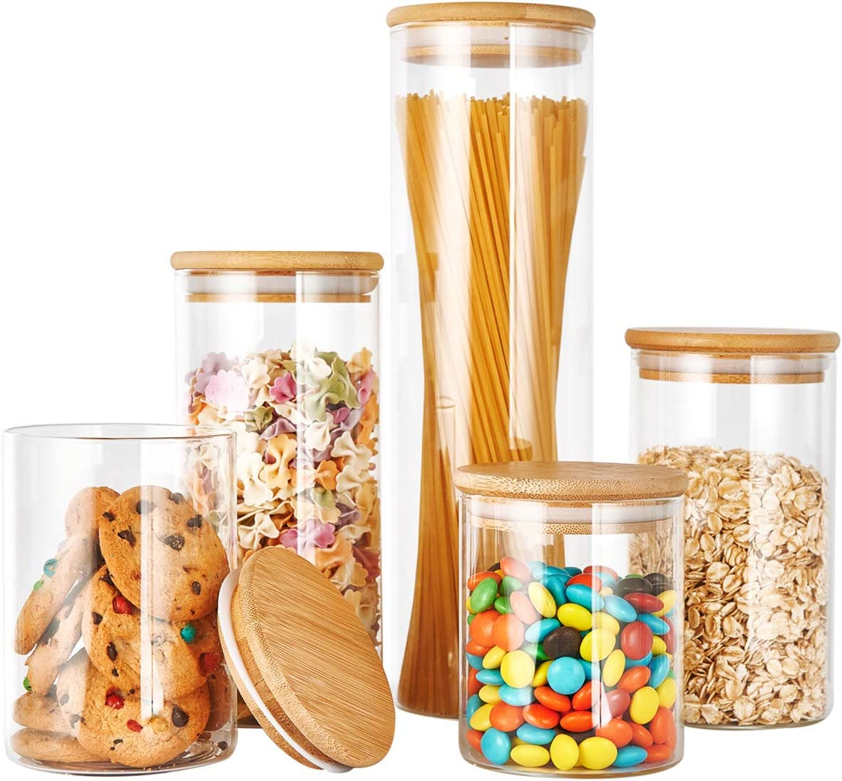 Excellent Glass Canister Set with Bamboo Storage Lid Manufacturer OFFicial shop Food Container
