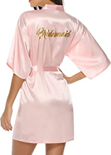 Women's Satin Silk Bride & Bridesmaid Robe Gold Glitter Wedding Party Kimono Robes