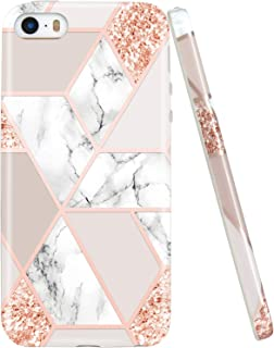 JIAXIUFEN Sparkle Glitter Shiny Rose Gold Metallic Marble Slim Shockproof Flexible Bumper TPU Soft Case Rubber Silicone Cover Phone Case Compatible with iPhone 5 5S SE