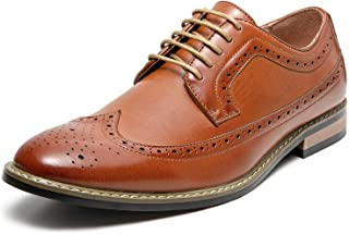 Mens Dress Shoes Cap Toe Brogue Leather Lined Lace-up Oxfords