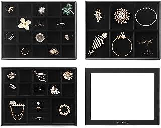 علبة مجوهرات قابلة للتكديس من فلاندو - إكسسوارات مجوهرات متعددة الأغراض لتخزين وتنظيم حلق القرط والعقد (متوسط - 3 طبقات مع...