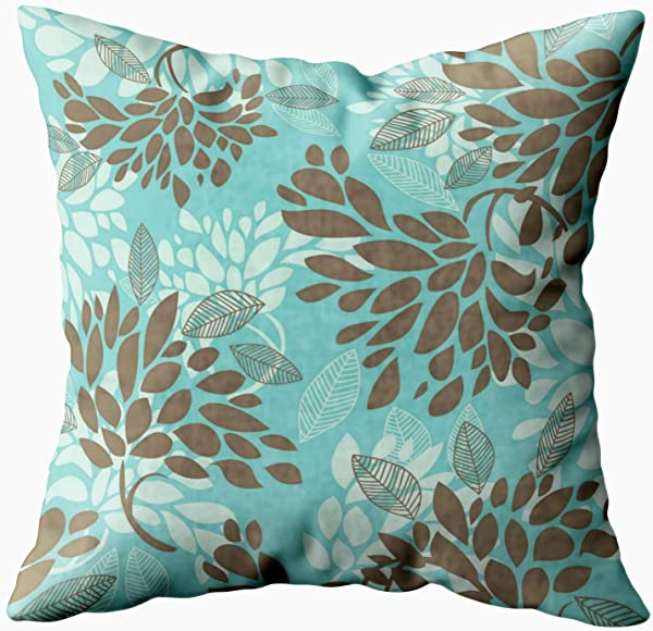 Shorping Zippered Pillow Covers Pillowcases 16X16 Inch Brown Aqua Blue Green Florals Mix Match Decorative Throw Pillow Cover Pillow Cases Cushion Cover For Home Sofa Bedding Bed Car Seats Decor