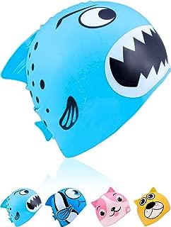 Geyoga Kids Swimming Cap Children Silicone Swim Cap Waterproof Animal Swim Cap for Avert Wet Hair
