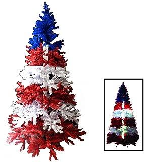 BOSS Creations Christ-mas 7 Ft Red White & Blue Christmas Tree w/Light Up Cross