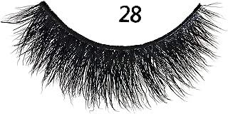 MIZ LASH 3D Mink Eyelashes 100% Real Fur Cruelty Free Strips False Lashes for Women Reusable Soft Thick Curl Dramatic Fluffy Natural Look Handmade Lash #28 Fashion Fake Eyelash Extensions 1 Pair Pack