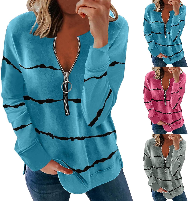 wlczzyn Zip-Up Sweatshirts for Women,Women's Lapel Zipper Sweatshirts Stripe Long Sleeve Hoodies Casual Pullover Tops