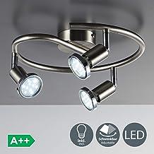 Lámpara de techo con focos giratorios y orientable incl. 3x3W LED bombillas GU10, 230V, Color níquel mate, Metal, Luz blanca cálida 3000K, Ø 280 mm