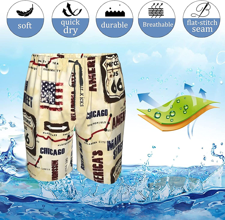 JINJUELS Mens Bathing Suits American Map Chicago Swim Short Boardshort Drawstring 3D Print Board Shorts with Pockets