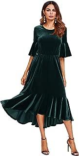 Women's Trumpet Sleeve Flounce Ruffle Hem Velvet Midi Dress