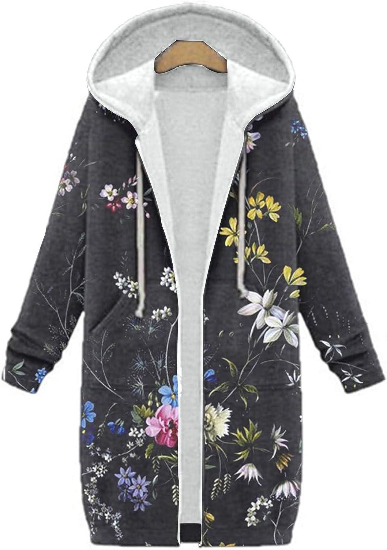 quality assurance Women Warm Hoodie Floral Print Zipper Coat Cardigan Cotton Blend supreme