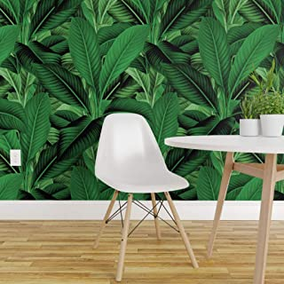 Spoonflower Peel and Stick Removable Wallpaper, Tropical Leaves Banana Leaf Island Jungle Botanical Green Palm Print, Self-Adhesive Wallpaper 24in x 36in Roll