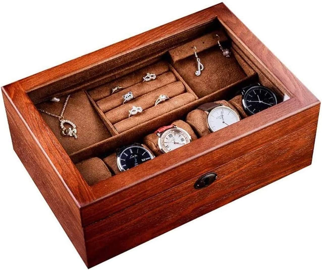 LHGH Jewelry Box 6 Philadelphia Mall Max 63% OFF Slots Watch D Wooden Topped Glass Case