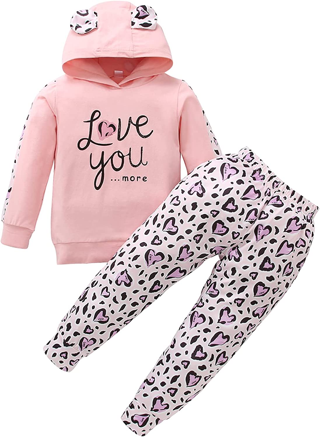 3Pcs Casual Outfit Toddler Baby Girl Clothes Set Letter Print Long Sleeve Ruffle Hoodies+Leopard Pants+Headband