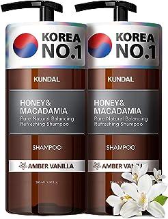 KUNDAL Natural Hair Shampoo, Amber Vanilla 2 bottles X 16.9 oz, Sulfate Free Paraben Free with argan oil