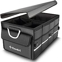 Knodel Car Trunk Organizer, Foldable Cover, Heavy Duty Collapsible Car Trunk Storage Organizer, Car Cargo Trunk Organizer with Lid (Gray)