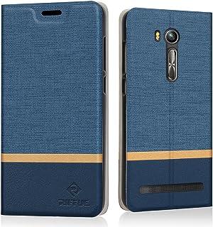 {Riffue} ZenFone Go ZB551KL ケース 手帳型 ZB551KL カバー おしゃれ レザー かわいい カード収納 衝撃吸収 スタンド 薄型 防水 ASUS ZenFone Go ZB551KL ケース-ネイビー