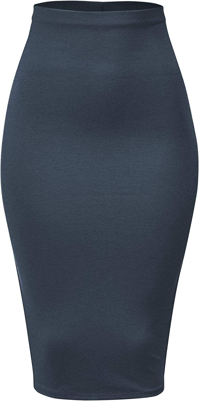 FashionMille Women Ponte Slim Fit Stretch Bodycon Office Pencil Skirt