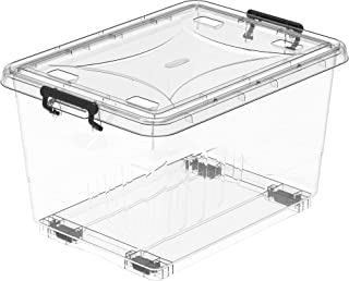 Cosmoplast 22L Clear Plastic Storage Box with Wheels & Lockable Lid, Transparent