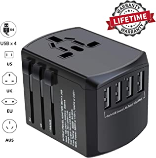 Travel Adapter, International Power Adapter for World Travel, Universal Travel Plug Adapter with 4 USB Ports, Worldwide European Adapter Type C Type A Type G Type I f for UK Japan China EU