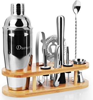 Duerer Bartender Kit with Stand, 11-Piece Cocktail Kit with Stylish Bamboo Stand, Perfect Home Bar Tool Set and Profession...