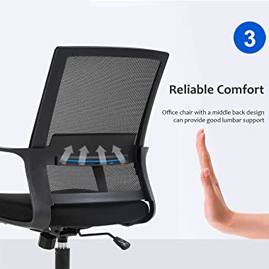 Home Office Chair Ergonomic Desk Chair Mid-Back Mesh Computer Chair Lumbar Support Comfortable Executive Adjustable Rolling S